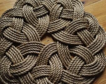 Kringle Mat - Nautical Decor - Smal Rope Rug - Manila Rope Mat (18 inch Diameter)