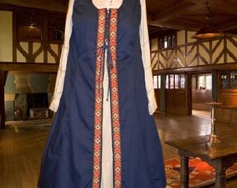 FREE SHIP Renaissance SCA Garb Medieval Costume Front-Lacing Navy Ctn 6Gore Surcote lxl