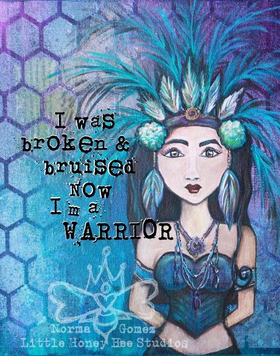 Warrior - 11x14 Artist Print Mixed Media