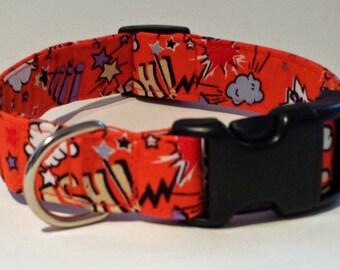 Orange Superhero Dog Collar