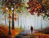 """Foggy Morning — PALETTE KNIFE Landscape Contemporary Textured Oil Painting On Canvas By Leonid Afremov - Size: 40"""" x 30"""" (100 cm x 75 cm)"""