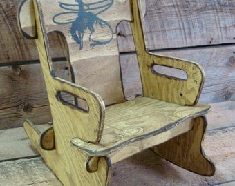 Child's rocking chair, Puzzle rocker chair for kids. Western wood rocking chair for kid's