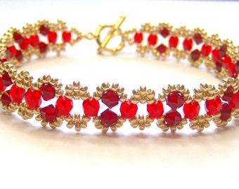 Red and gold swarovski elements bracelet, red bracelet, elegant bracelet, swarovski crystal bracelet, crystal bracelet BR001