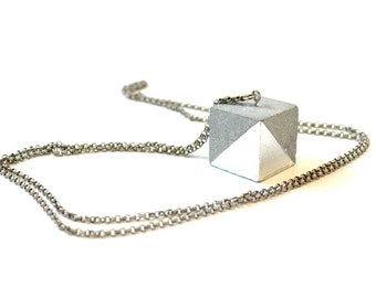 Concrete Cube Necklace with Silver triangle leafing/ Minimal Jewelry / Concrete Jewelry / Cement necklace