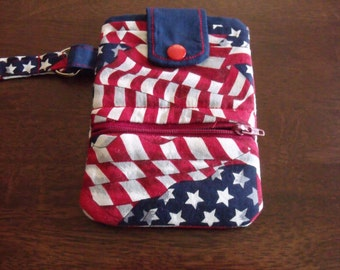 Small Cell Phone Wallet:  Flag