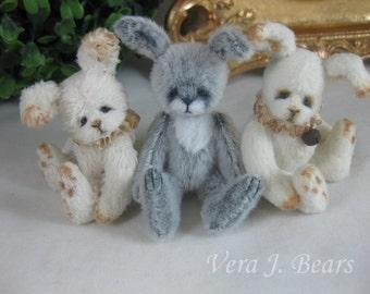 "SET of THREE, 3"" Miniature Artist Bunnies Rabbits handmade for Bear or doll by Vera J.Bears"
