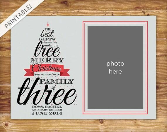 Pregnancy Announcement Card: Typographic Christmas Tree Pregnancy Announcement With Photo