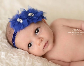Tulle Cluster Flowers with Pearl and Rhinestone Accents Baby Headband....Newborn, Baby, Girls Photo Prop Bow, Baby Shower