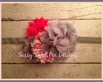 Gray Lace Flower with Gray Shabby and Quatrefoil Flowers Headband..Pink and Gray Headband..Baby Hair Bow,...Photo Prop Bow, Baby Shower
