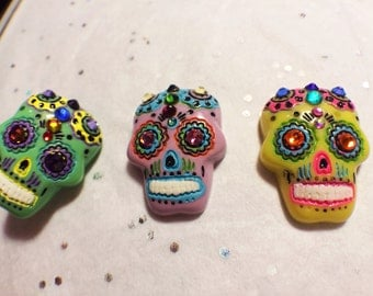Choose your color-- Front-Mounted Sugar Skull cell phone charm, dust plug charm, Day of the Dead charm