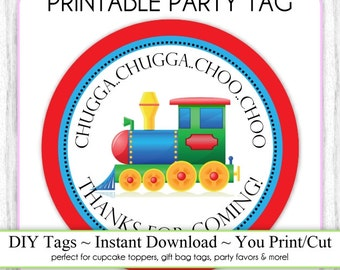 Instant Download - Party Printable Tag, Train Party Tag, Train Birthday Party Tag, Blue and Red Train DIY Cupcake Topper, You Print, You Cut