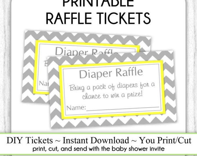 INSTANT DOWNLOAD - Gray and Yellow Chevron Diaper Raffle Tickets, Baby Shower Raffle Tickets, You Print, DIY