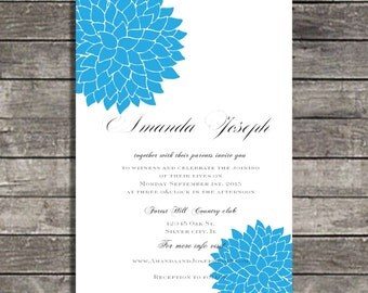 wedding invitations Modern Blue Flower wedding invite