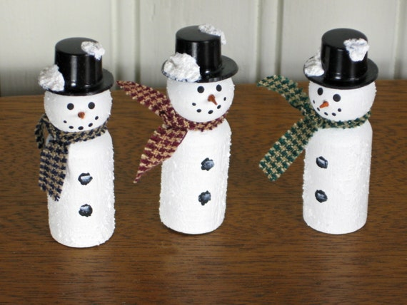 Items similar to miniature wooden snowmen with black top for Tiny top hats for crafts
