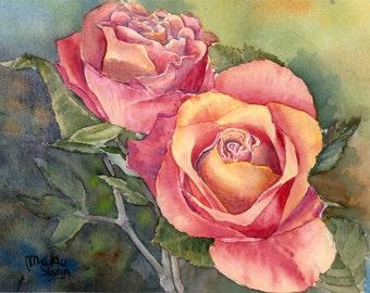 Art Notecard Set, Red Roses watercolour
