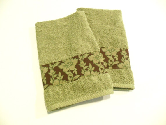 green decorative hand towels sage green brown by fernsatthelake. Black Bedroom Furniture Sets. Home Design Ideas