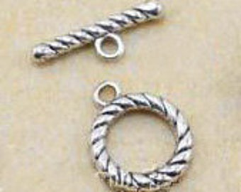30 sets of Antiqued Silver fancy toggle clasps 14mm