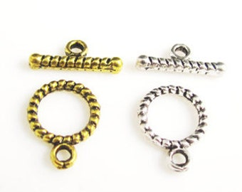 "30 sets of Antiqued gold or silver  fancy toggle clasps  ""OT"" clasps  10mm"