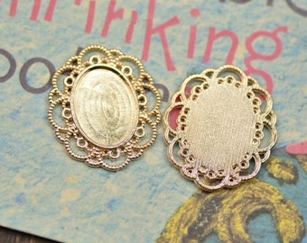 Cabochon Base Settings-30pcs antique gold or silver oval base flower cameo charm pendants 13x18mm