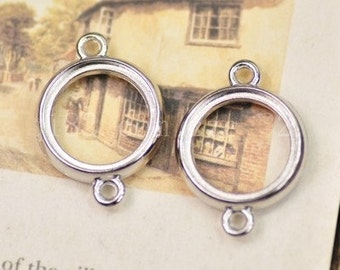 Cabochon Base Settings-20pcs Antique Bronze or silver circular base  Charm Pendants 18mm double-faced,hollow two sided