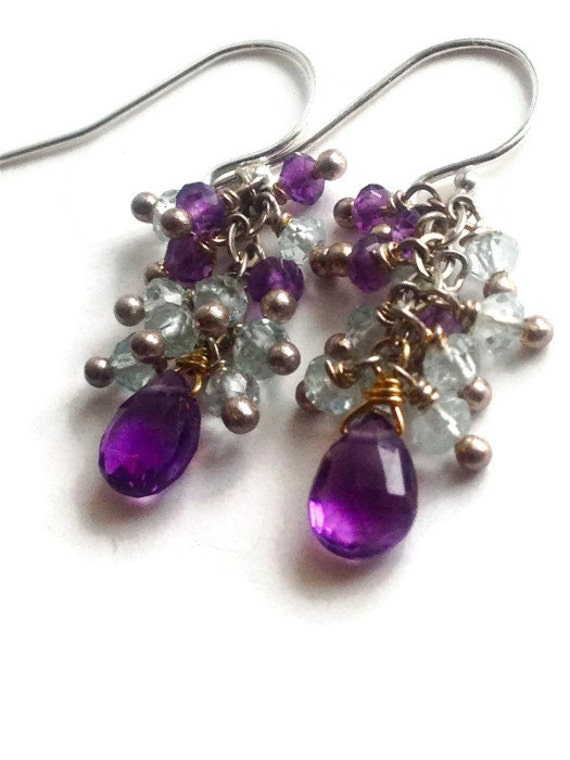Amethyst Briolette Earrings Blue Topaz Cluster/ Radiant Orchid/ February and December Birthstone/ fashion color trend