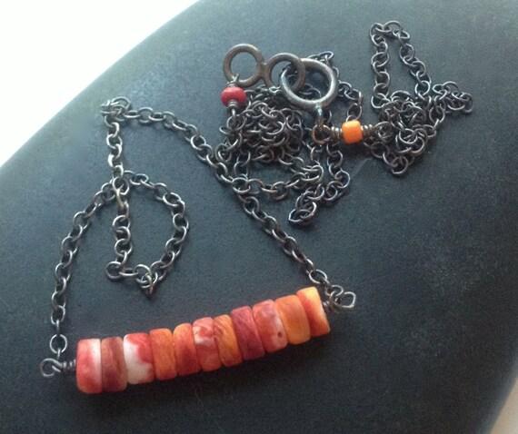 Spiny Oyster Shell Necklace , Orange Bar Necklace , Svadhisthana Chakra , Sacral Chakra , Minimalist , Natural Stone,  Layered