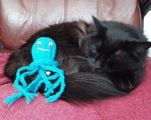 Octopus Cat Toys Hand Knit Durable Toy Optional Catnip & Bell