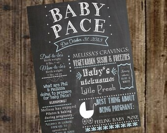 Baby Shower Chalkboard SIgn Poster Printable - Boy, Girl, Gender Reveal, Game, Decoration, Expecting, Pregnancy, Newborn, Baby Carriage