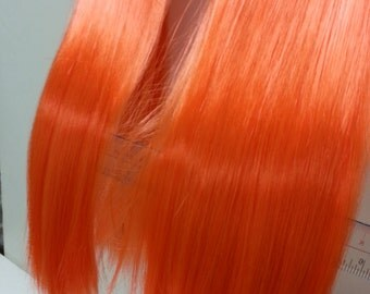 W104 Bright Orange Long Straight clip on Ponytail hair extension Cosplay Custome Party Carnival Cheerleader X 2pcs