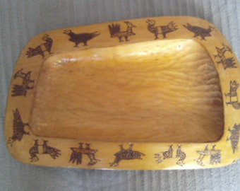 1960s wooden russian tray hand carved