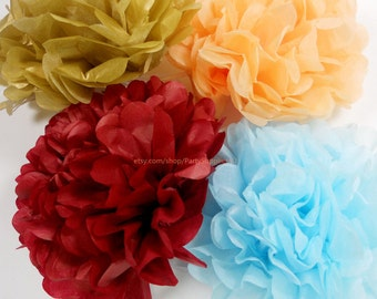 Tissue Paper Pom Poms set of 20 CHOOSE YOUR COLORS Wedding Birthday Baby Shower Party decoration