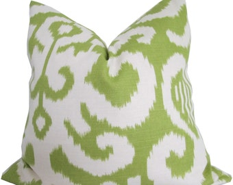 Green and White Ikat Decorative Pillow Cover-15x15Inches-18x18 Inches-Double Sided-Pillow Cover - Throw Pillow - Accent Pillow - Sofa Pillow