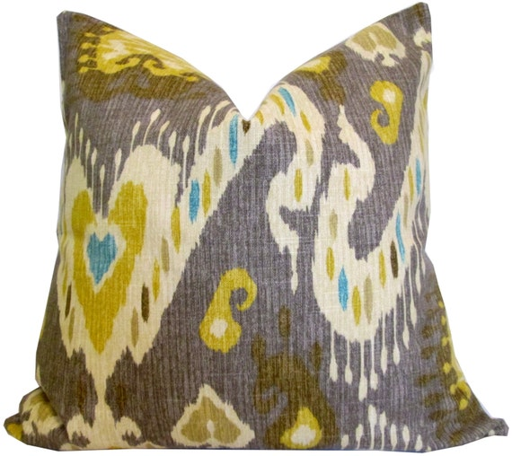 Yellow and Gray Ikat Decorative Pillow Cover Accent by KLineDeco