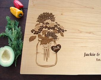 Hydrangea Rustic Mason Jar Custom Cutting Board Wedding Bridal Shower Gift Anniversary Holiday Present Country Kitchen Decor Chopping Board