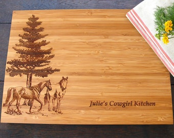 Horse Lovers Custom Cutting Board Equestrian Gift for Birthday or Christmas, Bridal Shower, Equine Kitchen Decor, Horse Custom Cutting Board