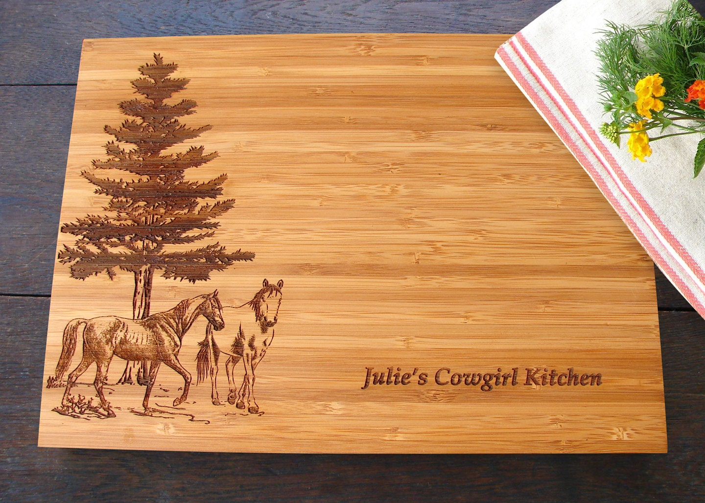 Horse Lovers Custom Cutting Board Equestrian Gift For Birthday