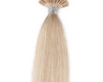 18inc 100grs,100s,Stick (I) Tip Human Hair Extensions  60 White Blonde
