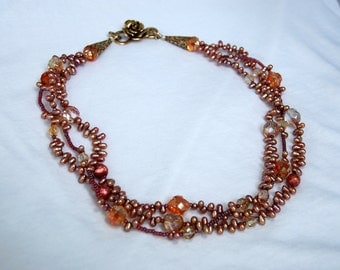 SALE  Triple Strand Peach/Copper Pearl & Crystal Necklace