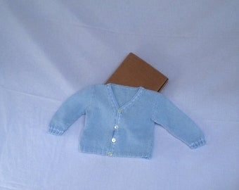 Baby cardigan sweater blue white pink handmade baby Made in Italy