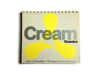 CREAM | Notebook | Recycled CD Box | Dance Music | Notepad | Handmade | Gift Idea | Stocking Filler | For Her | For Him | Music Journal