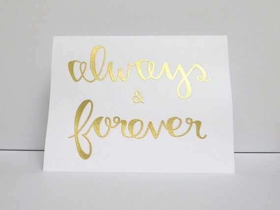 Always forever modern calligraphy heat embossed by