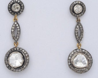 Victorian 4.10ct Rose/Polki Cut Diamond Earrings,Free Shipping Worldwide