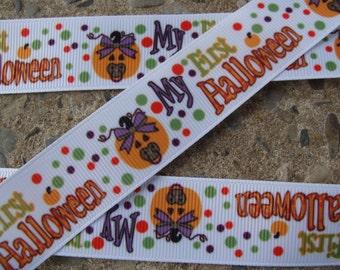 """3y my first halloween ribbon Fall Ribbon Pumpkin Ribbon Printed Ribbon 1"""" Hair Bow Ribbon Baby 1st Halloween Free Shipping"""