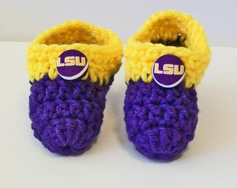 Adorable Hand Crocheted Baby Bootie Shoes Purple and Gold LSU Tigers Inspired Great Photo Prop Matching Hat & Bib Also Available
