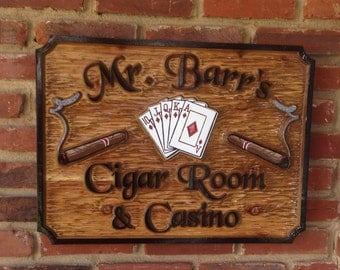 Custom Carved Cigar Room Casino Bar or Smoking Room Sign