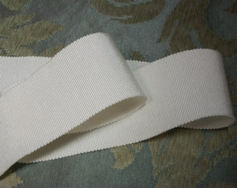 "2 yds New ""Vintage"" MILLINERY Grosgrain / Petersham Soft White RIBBON  1 &  5/8"" Wide - Trim"