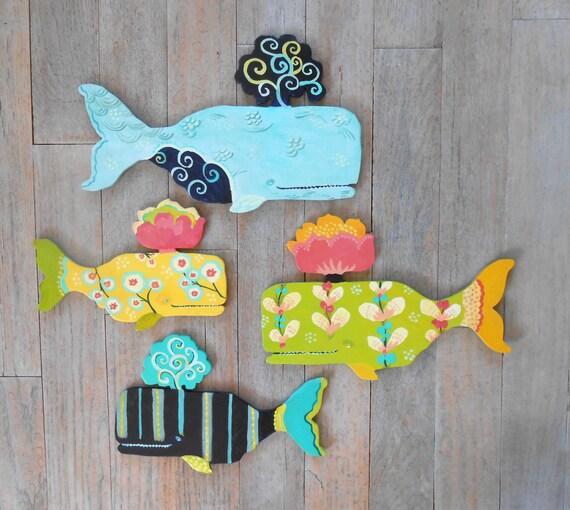 Choose your own patterns 4 whale set by Kimberly Hodges, wood whale art, whale folk art, coastal decor, beach decor, nursery art