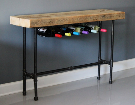 Industrial wine console urban wood wine rack wine bar by - Table bar industriel ...