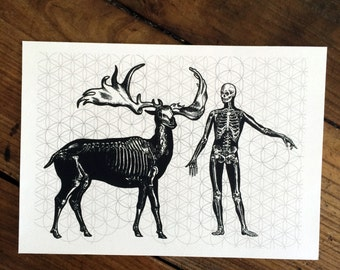 LIMITED Sacred Black Bones 1 - Tattoo print