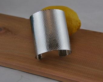 silver metal wide bangle cuff, bracelet